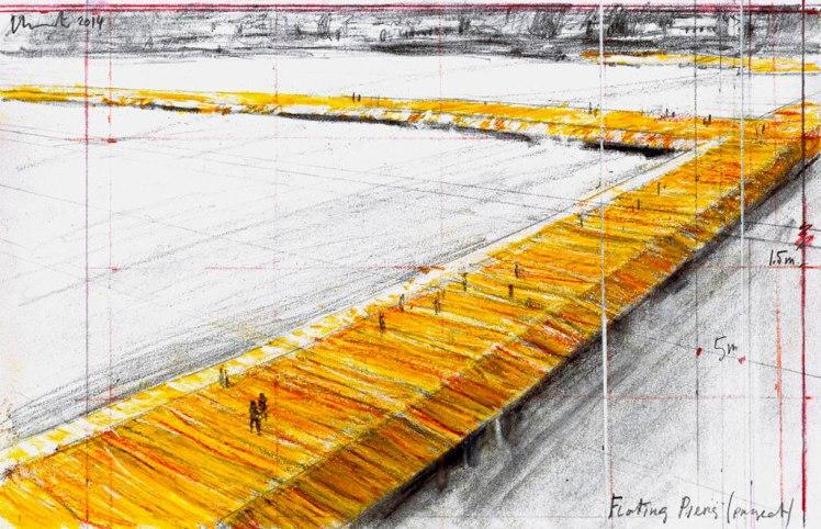 Christo, Floating Piers. Disegno 2014. 22,5 x 34,9 cm. Matita, carboncino e pastello. Foto: André Grossmann © 2014 Christo