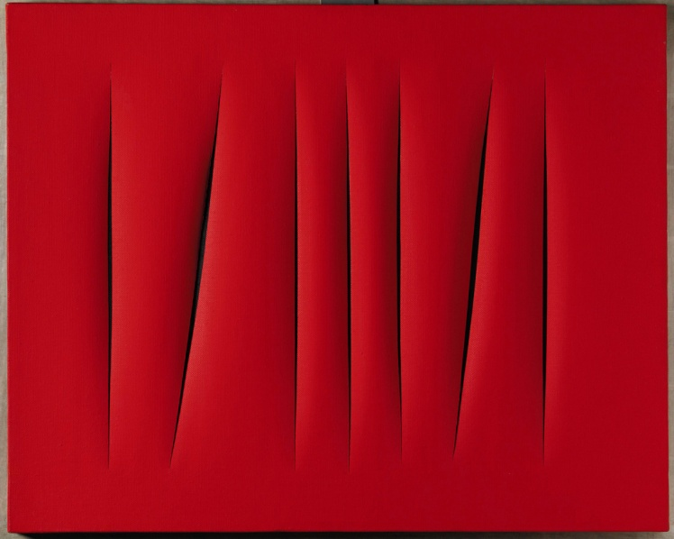 20th Century Italian Sale Sotheby's London - 15 October, 2007 Lucio Fontana (1899-1968) Concetto Spaziale, Attese signed, titled and inscribed Questo quadro a sette tagli... on the reverse waterpaint on canvas Executed in 1968. Estimate: £700,000 - £1,000,000